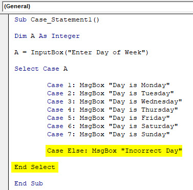 VBA Case Example 1-7
