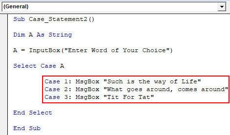 VBA Case Example 2-5