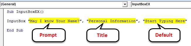 VBA InputBox Example 1-3