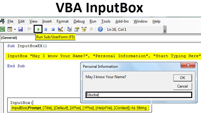 VBA InputBox in Excel
