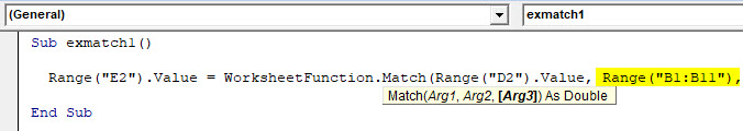 VBA Match Example 1-8