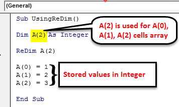 VBA ReDim Example 1-2
