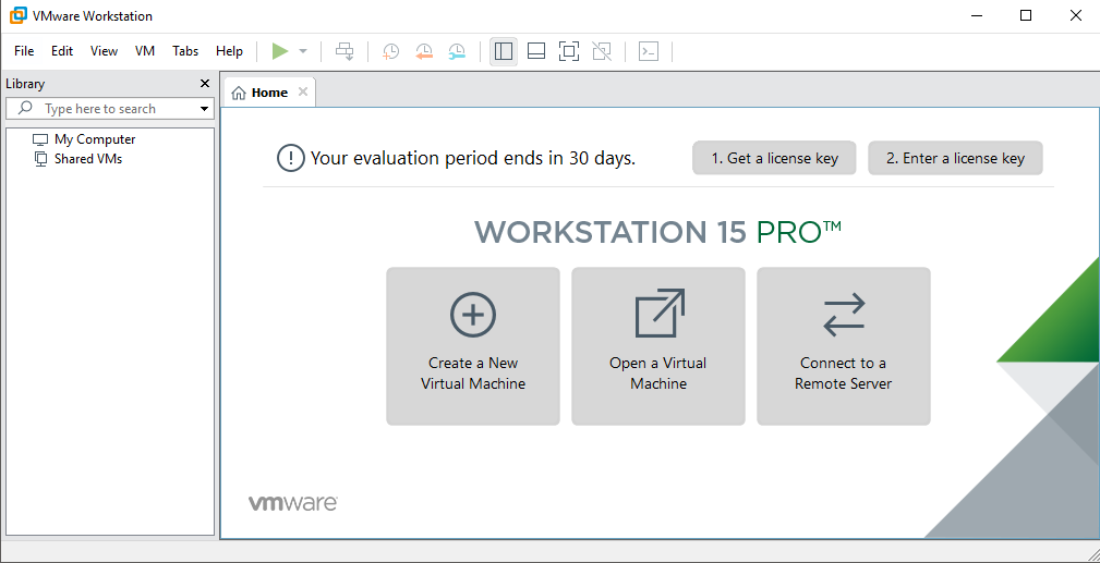 window of VMware Workstation Pro