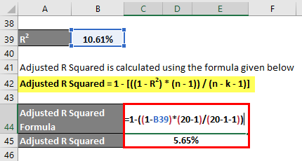 Adjusted R Squared Formula Example 1-10
