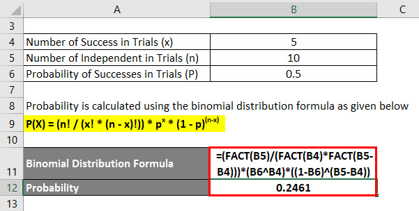 Binomial Distribution Formula Example 1-2