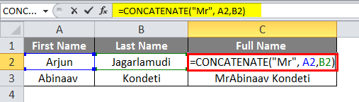 Concatenate in excel Example 1-5