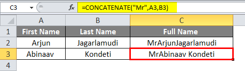 Concatenate in excel Example