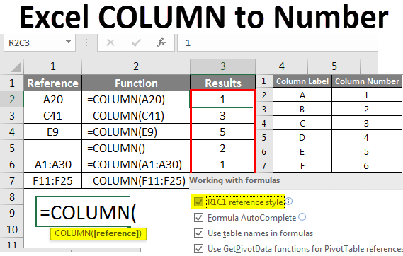 Excel Column to Number