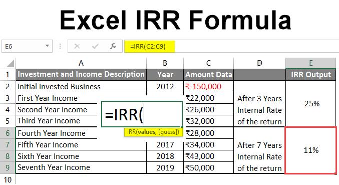Excel IRR Formula