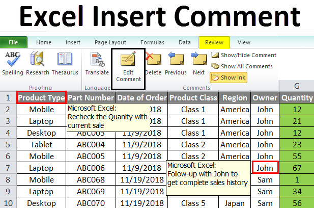 Excel Insert Comment