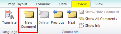 Insert Comment in Excel Example 1-2