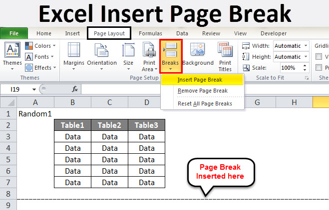 Excel Insert Page Break