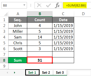 Group Worksheet in Excel Example set sum 1