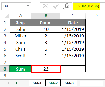 Group Worksheet in Excel Example set sum 2