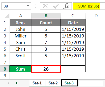 Group Worksheet in Excel Example set sum 3
