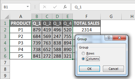 Grouping Excel dialog box