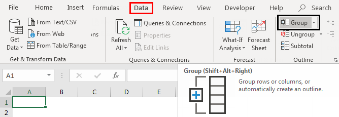 Grouping Columns in Excel ribbon