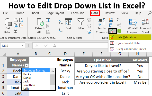 How to Edit Drop Down List in Excel