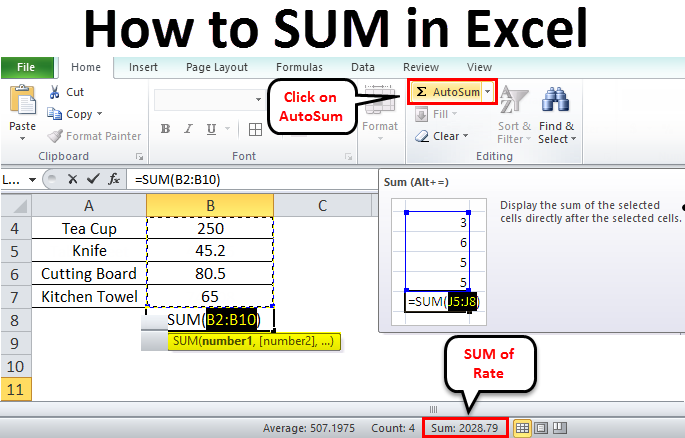 How to SUM in excel