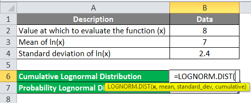Lognormal Distribution in Excel Example 1-2