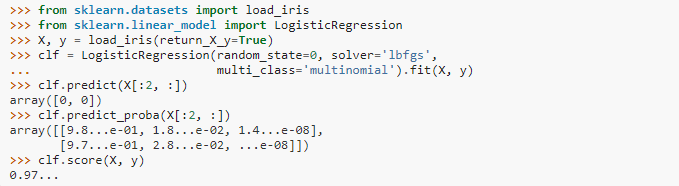 Logistic Regression written in sklearn 2