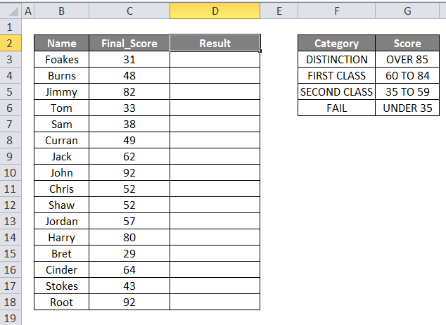 Nested IF Formula Example 1-1