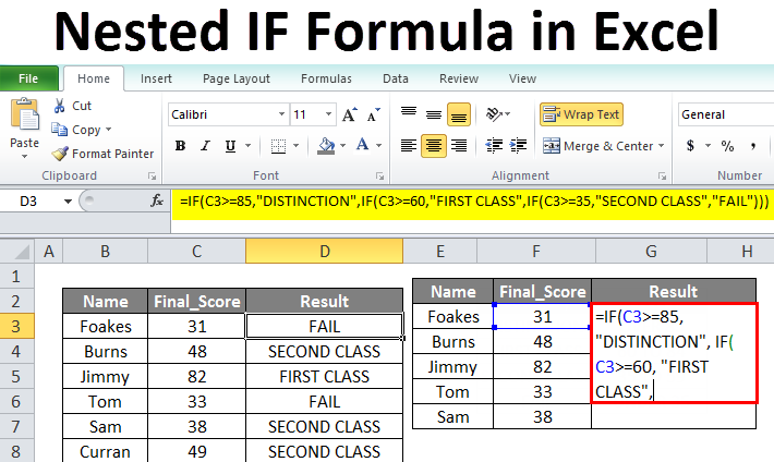 Nested IF Formula in Excel