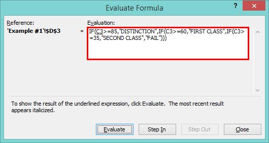 Nested IF formula -Evalute formula