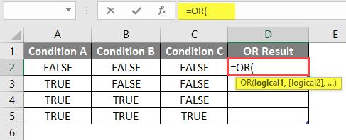 OR Formula in Excel 1-3