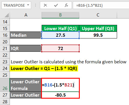 Outliers Formula Example 2-7