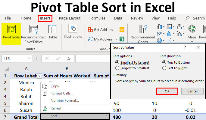 Pivot Table Sort in Excel