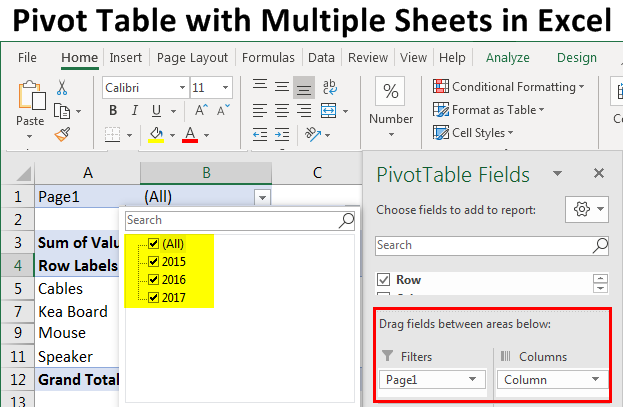 Pivot Table with Multiple Sheets in Excel