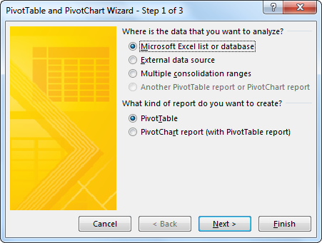 Pivot table and Pivot Chart Wizard 1