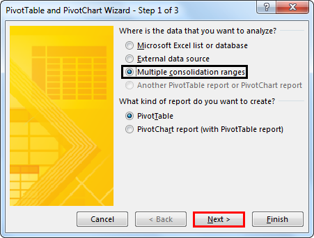 Pivot table and Pivot Chart Wizard 2