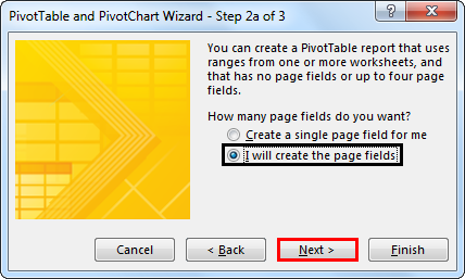 Pivot table and Pivot Chart Wizard 3