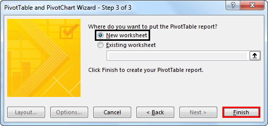 Pivot table and Pivot Chart Wizard 8