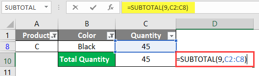 SUBTOTAL Formula in Excel example 1-12