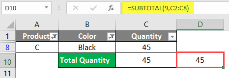 SUBTOTAL Formula in Excel example 1-13