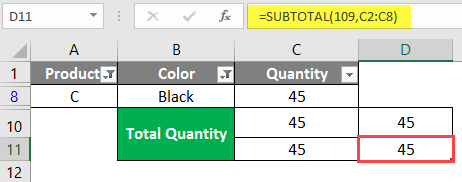 SUBTOTAL Formula in Excel example 1-15
