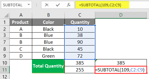 SUBTOTAL Formula in Excel example 1-6