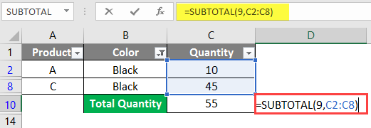 SUBTOTAL Formula in Excel example 1-8