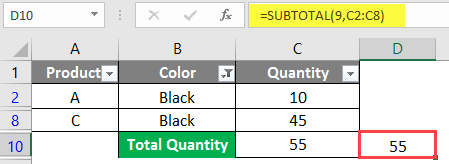 SUBTOTAL Formula in Excel example 1-9