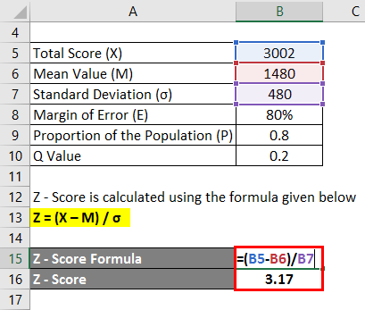 Calculation of Z Socre Example 1-2