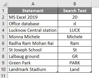 Search in excel example 1-1