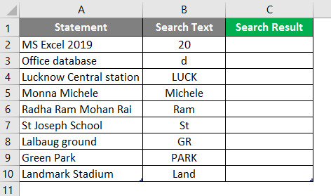 Search in excel example 1-2