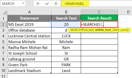 Search in excel example 1-3