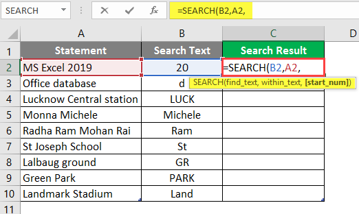 Search in excel example 1-5