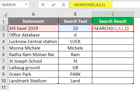 Search in excel example 1-6