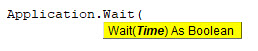Syntax of Wait Function
