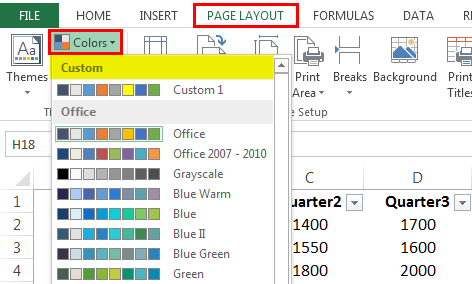 Themes in Excel - Changing Colors Step 1